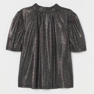NWT H&M Black and Silver Shimmery Blouse